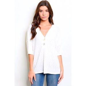 White Rib Knit V-Neck Boho Pullover Tunic